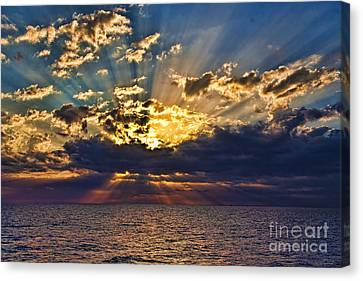 Canvas Print featuring the photograph Santorini Sunset by Shirley Mangini