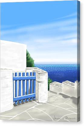 Santorini Canvas Print by Veronica Minozzi