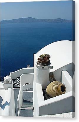 Santorini Welcome Canvas Print by Julie Palencia