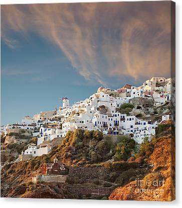 Santorini Windmill At Dusk Canvas Print