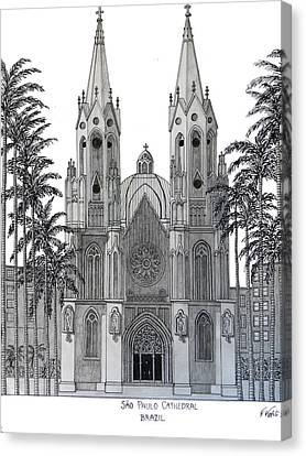 Sao Paulo Cathedral Canvas Print by Frederic Kohli