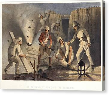 Sappers At Work In The Batteries Canvas Print by British Library