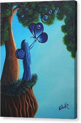 Sapphire Fairy Original Whimsical Painting Canvas Print by Shawna Erback