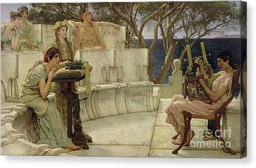 Sappho And Alcaeus Canvas Print by Sir Lawrence Alma-Tadema