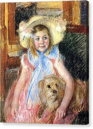 Sara Holding Her Dog Canvas Print by Marry Cassatt