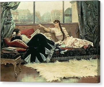 Sarah Bernhardt And Christine Nilsson Canvas Print by Julius Leblanc Stewart
