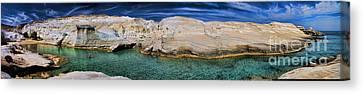 Sarakiniko Beach In Milos Island Greece Canvas Print by David Smith