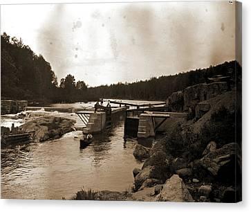 Saranac River Dam And Lock, Adirondack Mtns Canvas Print by Litz Collection