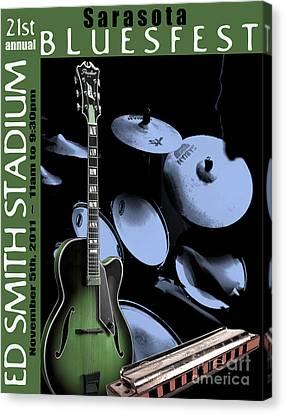 Canvas Print featuring the digital art Sarasota Bluesfest-green by Megan Dirsa-DuBois