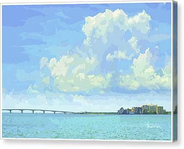 Sarasota Skyline From Sarasota Bay Canvas Print by Susan Molnar