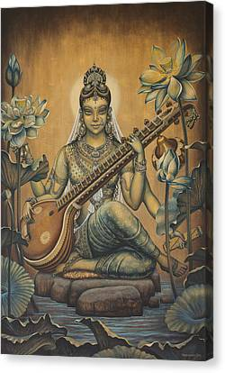 Sacred Artwork Canvas Print - Sarasvati Shakti by Vrindavan Das