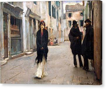 Sargent's Street In Venice Canvas Print by Cora Wandel