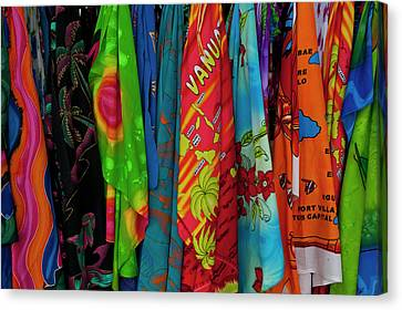 Sarongs For Sale In Port Vila, Island Canvas Print by Michael Runkel
