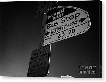 Stop Sign Canvas Print - Saskatoon Transit Dart Bus Stop With Text Code For Bus Information Saskatchewan Canada by Joe Fox