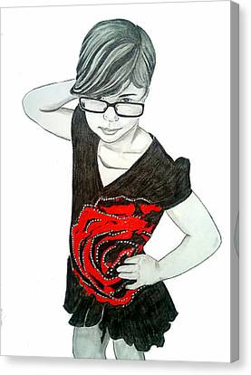 Canvas Print featuring the drawing Sassy Izzy by Justin Moore