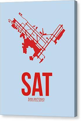 Sat San Antonio Airport Poster 1 Canvas Print by Naxart Studio