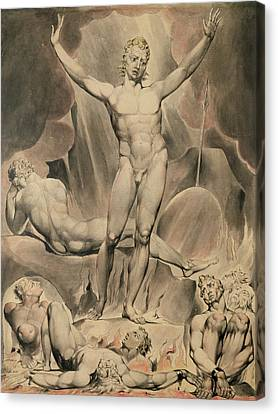 Satan Arousing The Rebel Angels, 1808 Canvas Print by William Blake