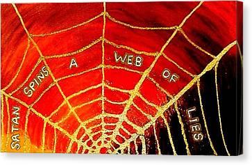 Satan's Web Canvas Print by Karen Jane Jones