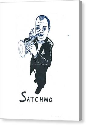 Canvas Print featuring the drawing Satchmo by Don Koester