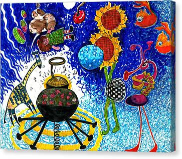Satelite Critters Canvas Print by Genevieve Esson