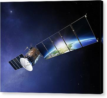 Broadcast Canvas Print - Satellite Communications With Earth by Johan Swanepoel