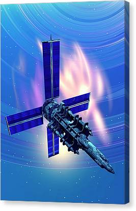 Outer Space Canvas Print - Satellite In Space by Victor Habbick Visions