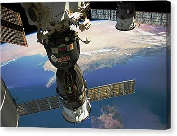 Satellite View Canvas Print - Satellite In Space With View Of Italy by Panoramic Images