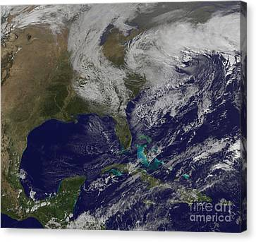 Satellite View Of A Noreaster Storm Canvas Print by Stocktrek Images