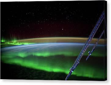 Satellite View Canvas Print - Satellite View Of Aurora Borealis by Panoramic Images