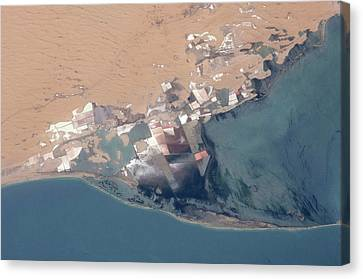 Satellite View Of Bardawil Lake, North Canvas Print