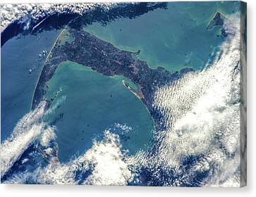 Satellite View Of Cape Cod National Canvas Print