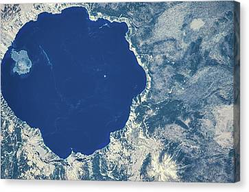 Crater Lake National Park Canvas Print - Satellite View Of Crater Lake, Oregon by Panoramic Images