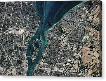 Satellite View Of Detroit River Canvas Print
