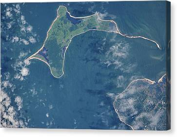 Satellite View Canvas Print - Satellite View Of Gardiners Island by Panoramic Images