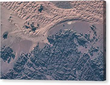 Satellite View Of Wet Sand On Riverbed Canvas Print