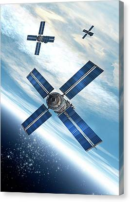 Outer Space Canvas Print - Satellites Orbiting The Earth by Victor Habbick Visions
