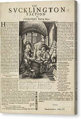 Satire On Gluttony, 17th Century Canvas Print by British Library