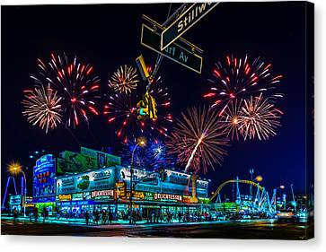 Saturday Night At Coney Island Canvas Print by Chris Lord