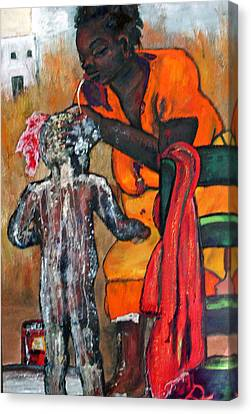 Saturday Night  Bath Canvas Print by Peggy  Blood