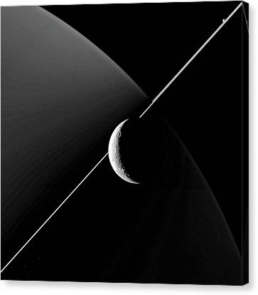 Saturn And Dione Canvas Print by Nasa/jpl-caltech/space Science Institute