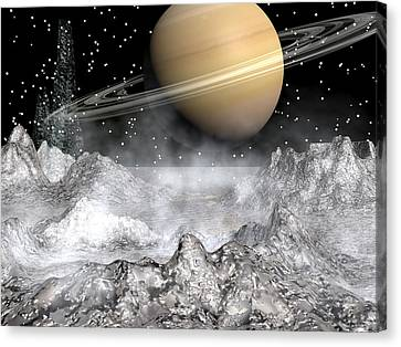Saturn And Enceladus Canvas Print by Michele Wilson