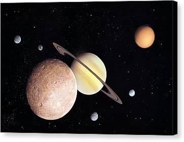 Saturn And Moons Canvas Print by Richard Bizley