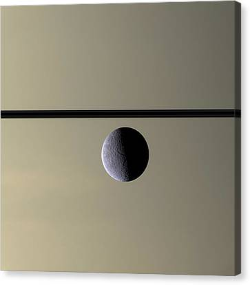 Astronomy Canvas Print - Saturn Rhea Contemporary Abstract by Adam Romanowicz