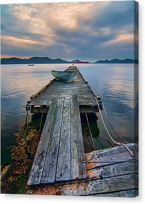 Wooden Platform Canvas Print - Saturna Island Dock by James Wheeler