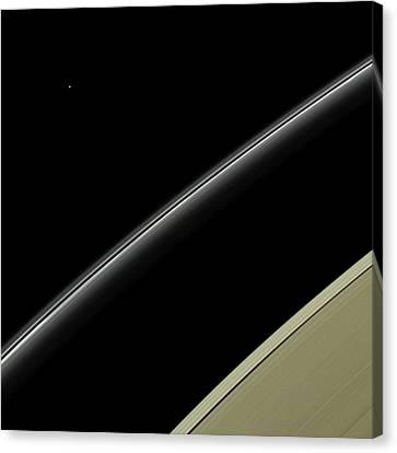 Uranus Canvas Print - Saturn's Rings And Uranus by Nasa/jpl-caltech/space Science Institute
