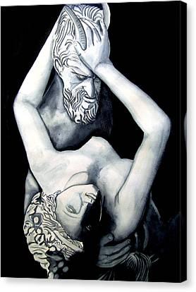 Satyre Et Bacchante Canvas Print by Emmanuel Turner