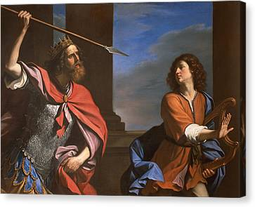 Threat Canvas Print - Saul Attacking David by Guercino