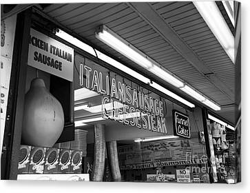 Sausage And Cheese Steak Mono Canvas Print