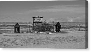 Canvas Print featuring the photograph Savageton Cemetery  Wyoming by Cathy Anderson
