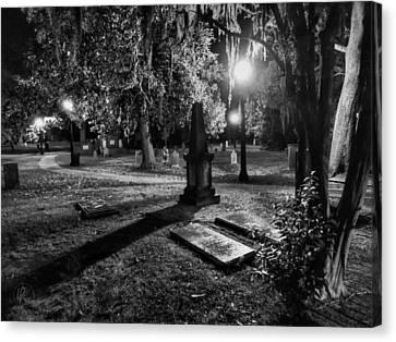 Night Lamp Canvas Print - Savannah - Bonaventure Cemetery 002 by Lance Vaughn
